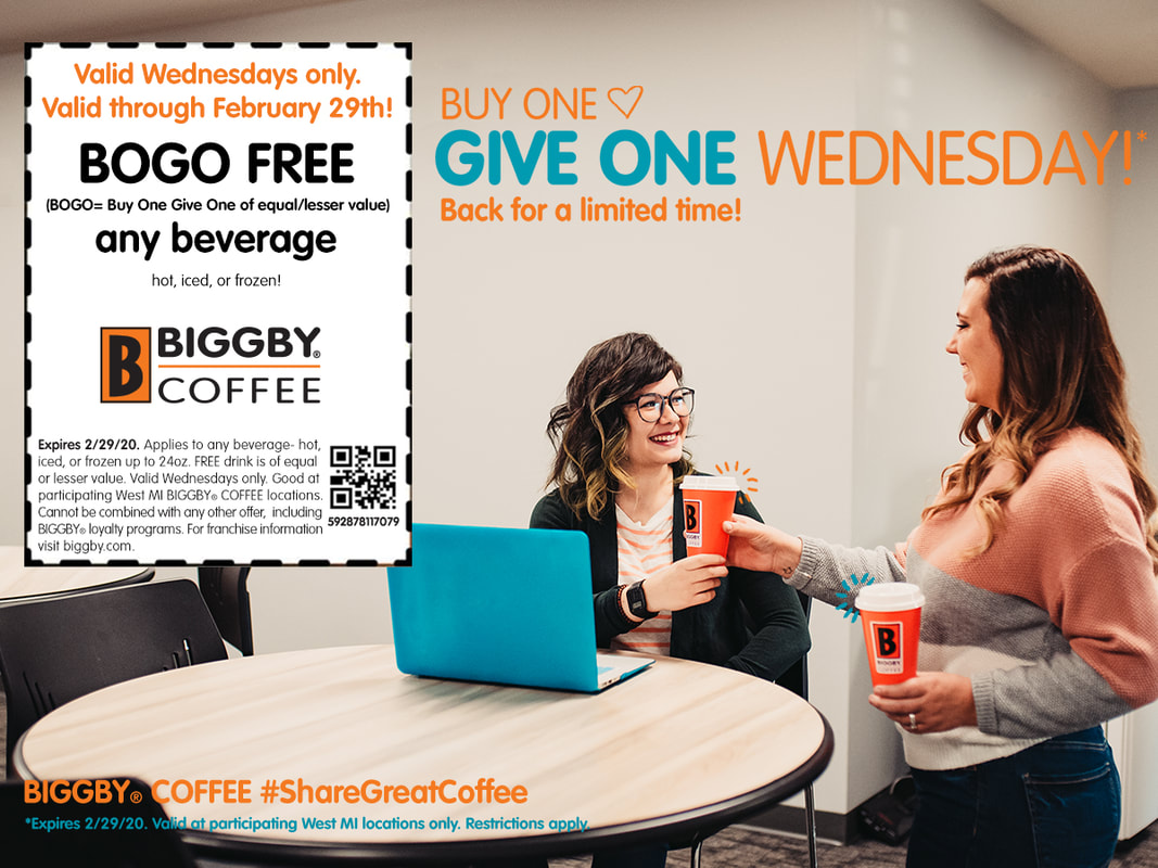 Buy One Get One Free Biggby Coupon. Valid Wednesdays only through February 29 at participating West Michigan locations. Coupon code 592878117079