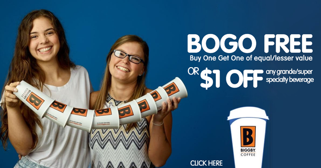 BIGGBY BOGO FREE or $1 OFF
